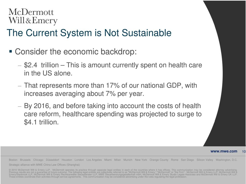 By 2016, and before taking into account the costs of health care reform, healthcare spending was projected to surge to $4.1 trillion. www.mwe.
