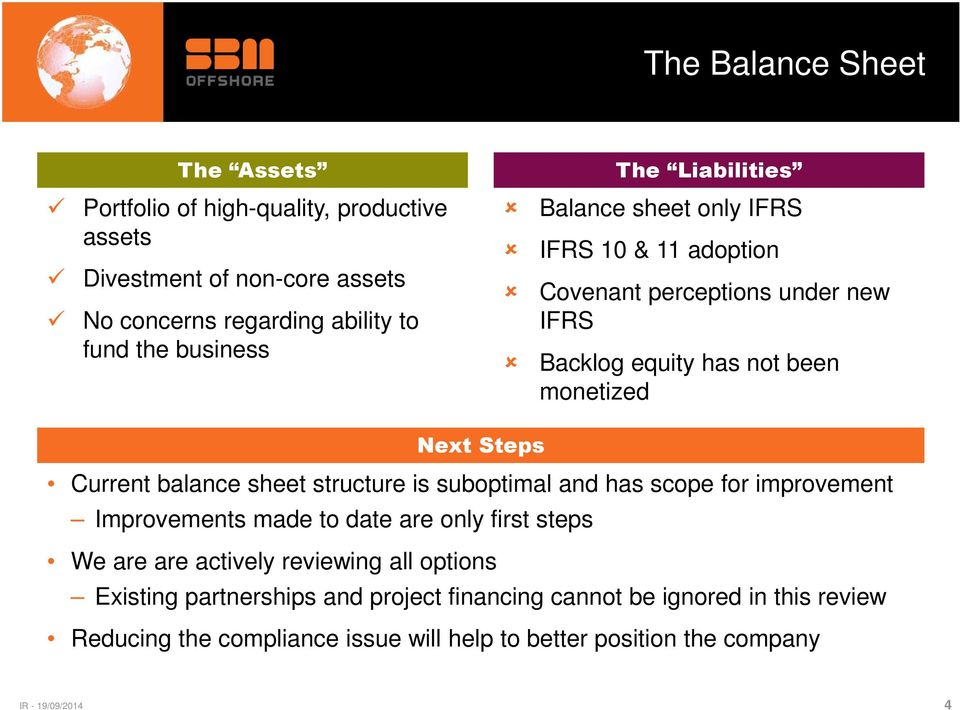 Steps Current balance sheet structure is suboptimal and has scope for improvement Improvements made to date are only first steps We are are actively