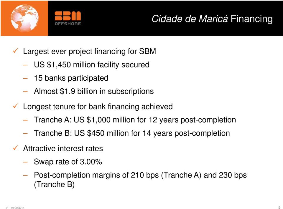 9 billion in subscriptions Longest tenure for bank financing achieved Tranche A: US $1,000 million for 12