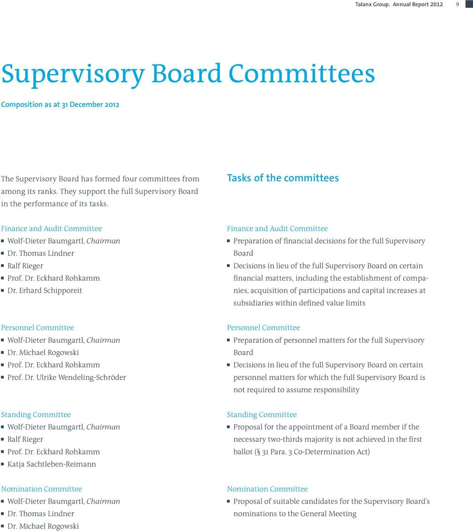 Erhard Schipporeit Finance and Audit Committee Preparation of financial decisions for the full Supervisory Board Decisions in lieu of the full Supervisory Board on certain financial matters,