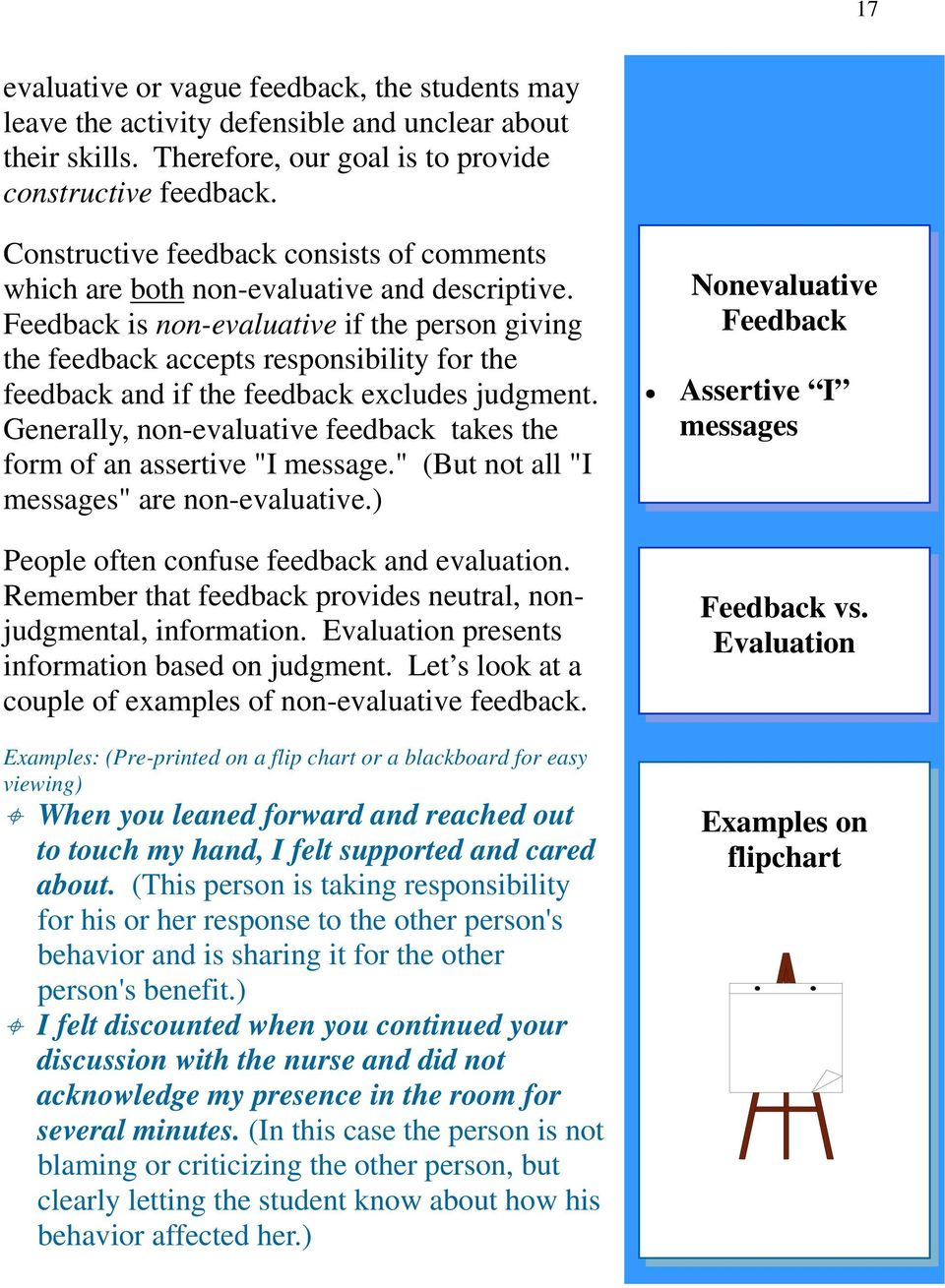 Feedback is non-evaluative if the person giving the feedback accepts responsibility for the feedback and if the feedback excludes judgment.