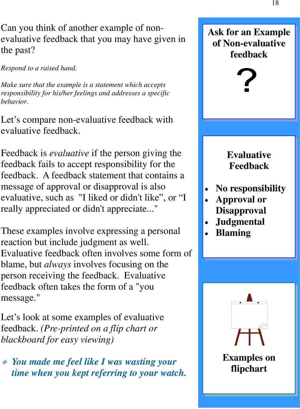 Let s compare non-evaluative feedback with evaluative feedback. Feedback is evaluative if the person giving the feedback fails to accept responsibility for the feedback.