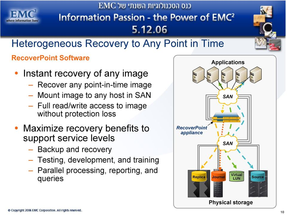 recovery benefits to support service levels Backup and recovery Testing, development, and training Parallel