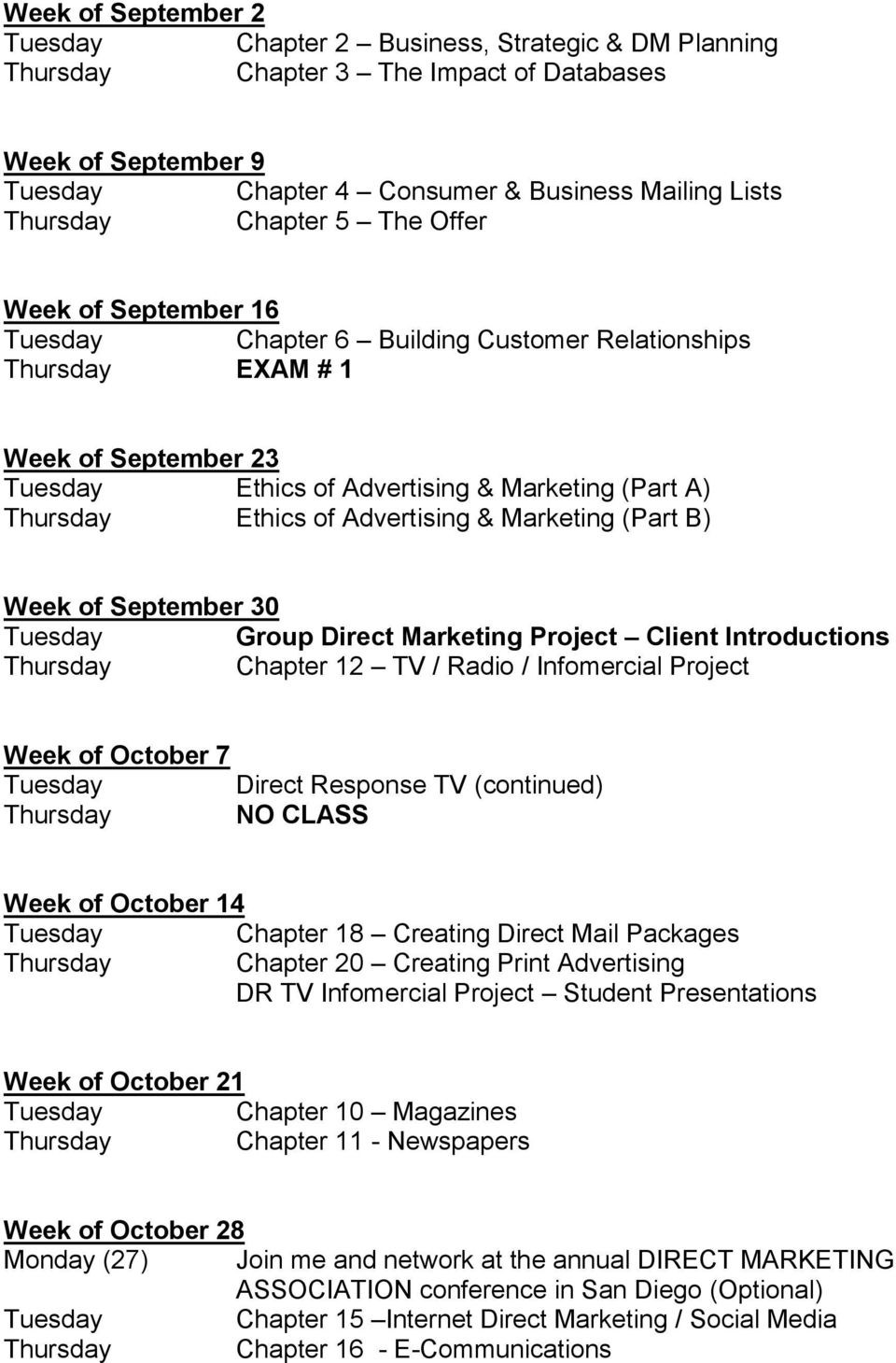 Week of September 30 Group Direct Marketing Project Client Introductions Thursday Chapter 12 TV / Radio / Infomercial Project Week of October 7 Direct Response TV (continued) Thursday NO CLASS Week