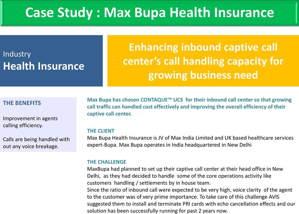 Max Bupa has chosen CONTAQUE UCS for their inbound call center so that growing call traffic can handled cost effectively and improving the overall efficiency of their captive call center.