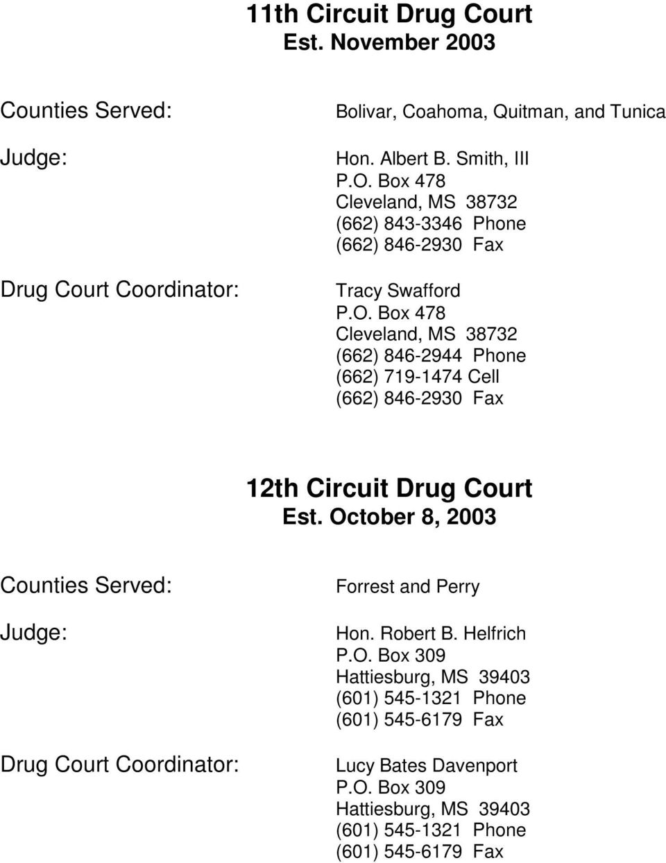 Box 478 Cleveland, MS 38732 (662) 846-2944 Phone (662) 719-1474 Cell (662) 846-2930 Fax 12th Circuit Drug Court Est.