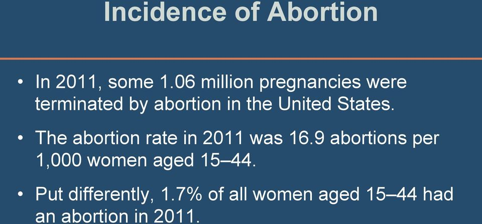 United States. The abortion rate in 2011 was 16.