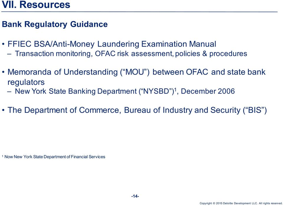 and state bank regulators New York State Banking Department ( NYSBD ) 1, December 2006 The Department of