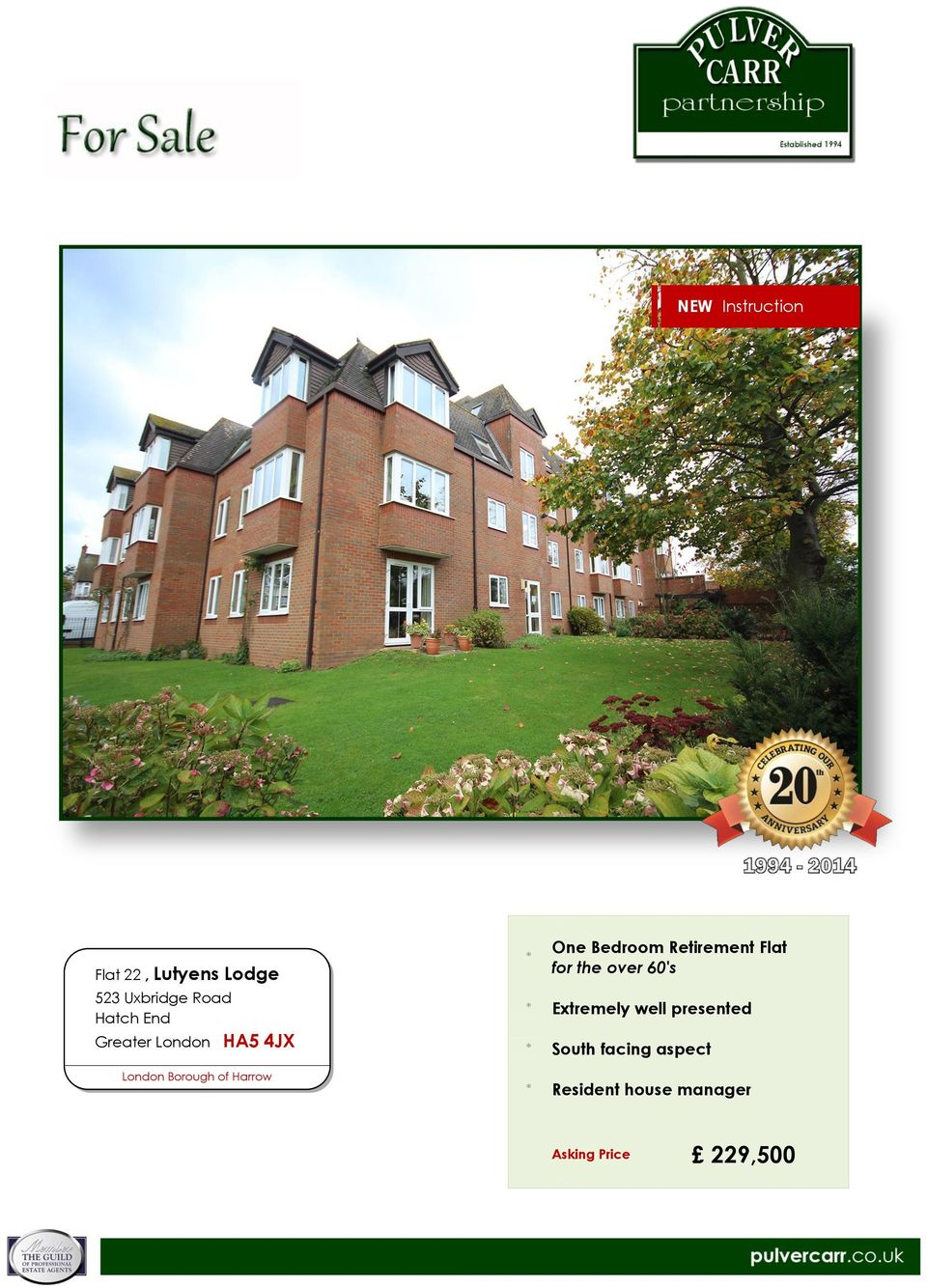 Borough of Harrow * One Bedroom Retirement Flat for the over 60's * Extremely