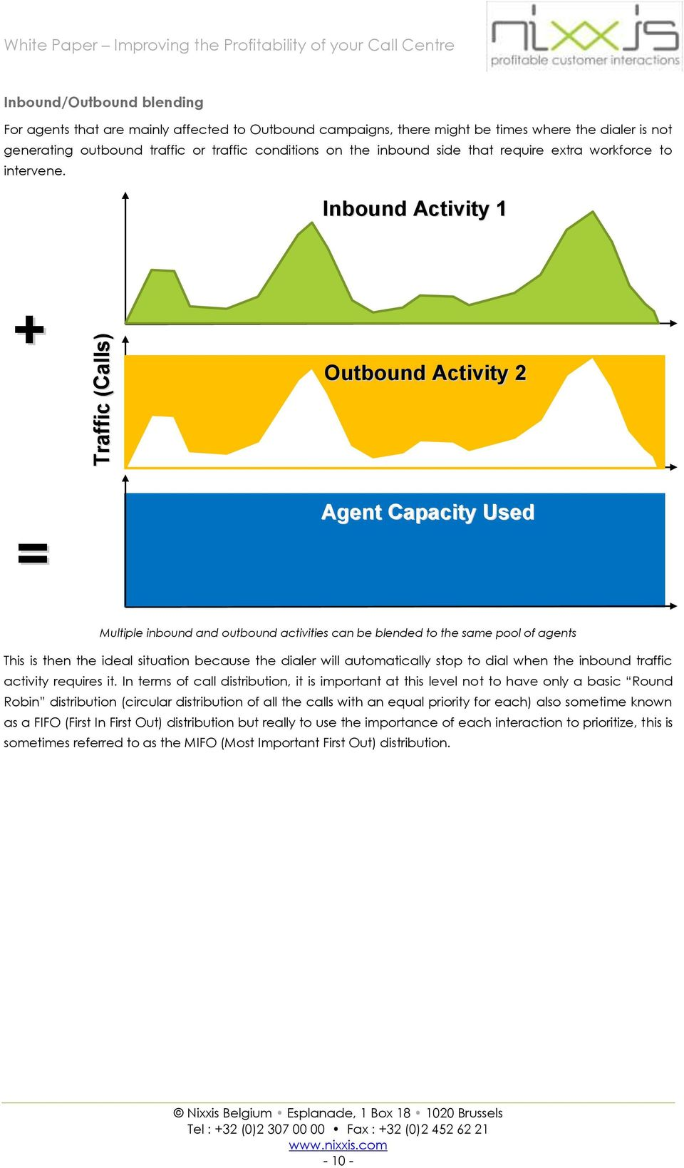 Inbound Activity 1 + Outbound Activity 2 = Agent Capacity Used Multiple inbound and outbound activities can be blended to the same pool of agents This is then the ideal situation because the dialer