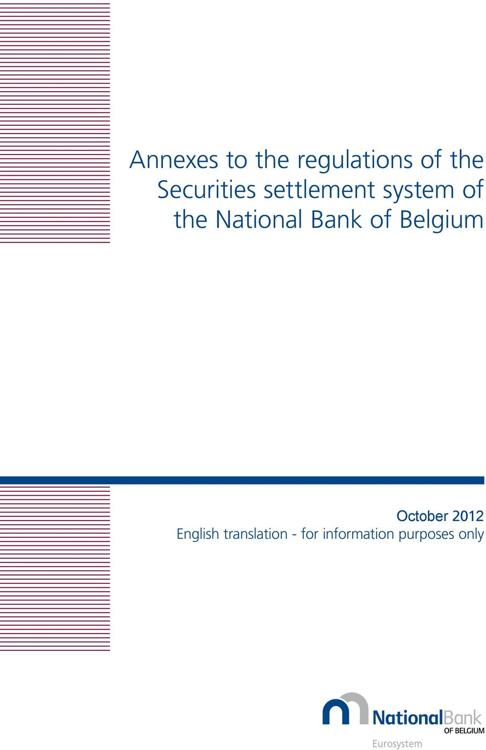 National Bank of Belgium October 2012