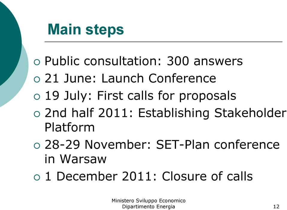 2011: Establishing Stakeholder Platform 28-29 November: