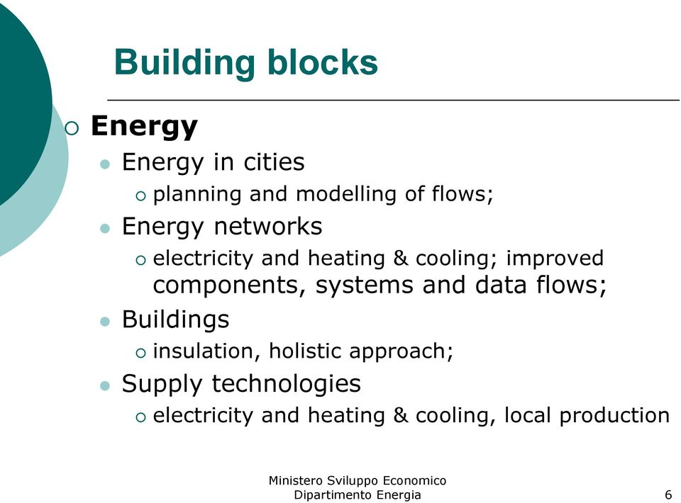 components, systems and data flows; Buildings insulation, holistic