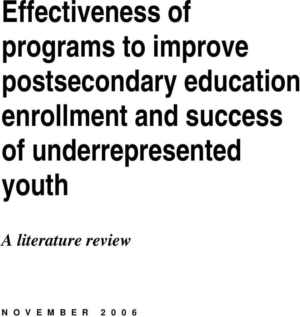 success of underrepresented youth A