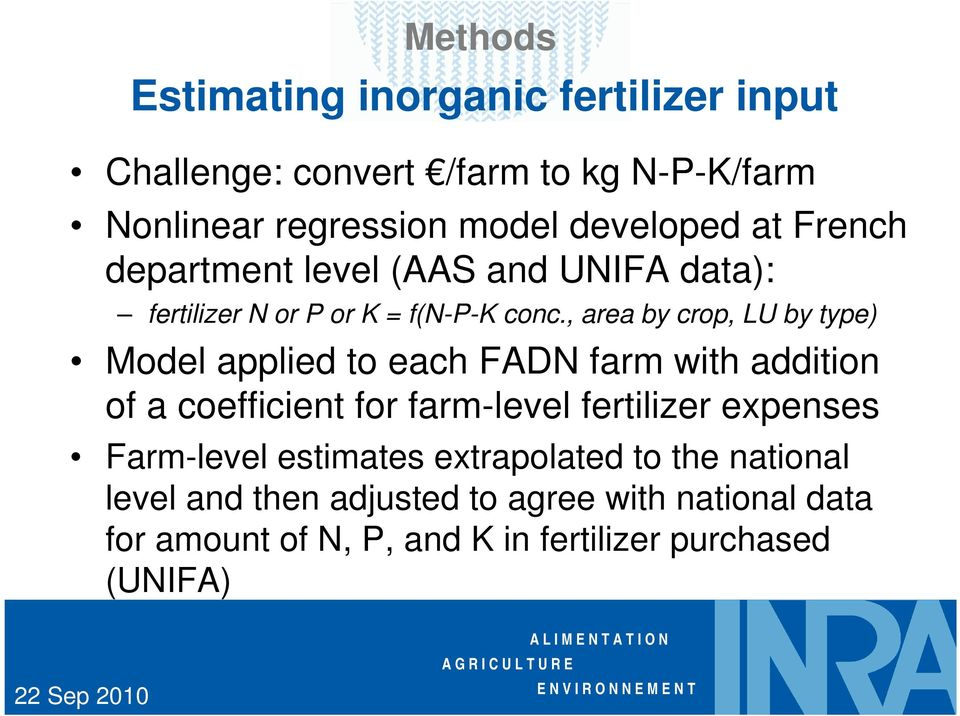 , area by crop, LU by type) Model applied to each FADN farm with addition of a coefficient for farm-level fertilizer