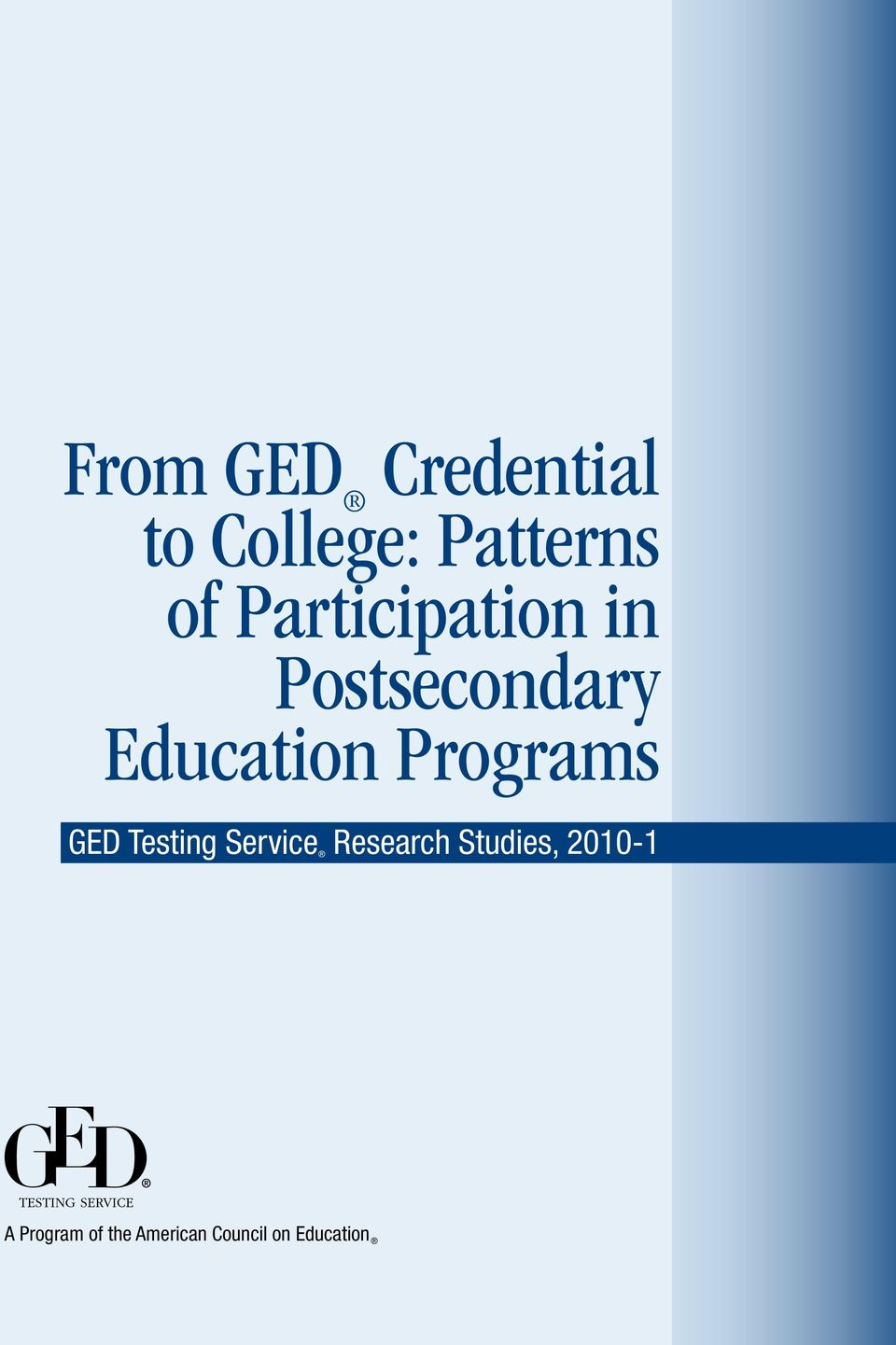 Programs GED Testing Service Research Studies,