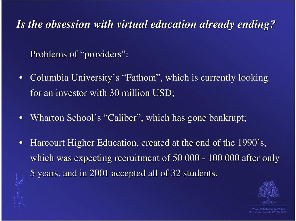 with 30 million USD; Wharton School s Caliber Caliber, which has gone bankrupt; Harcourt Higher