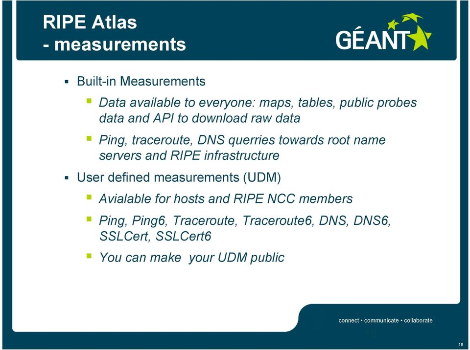 and RIPE infrastructure User defined measurements (UDM) Avialable for hosts and RIPE NCC members