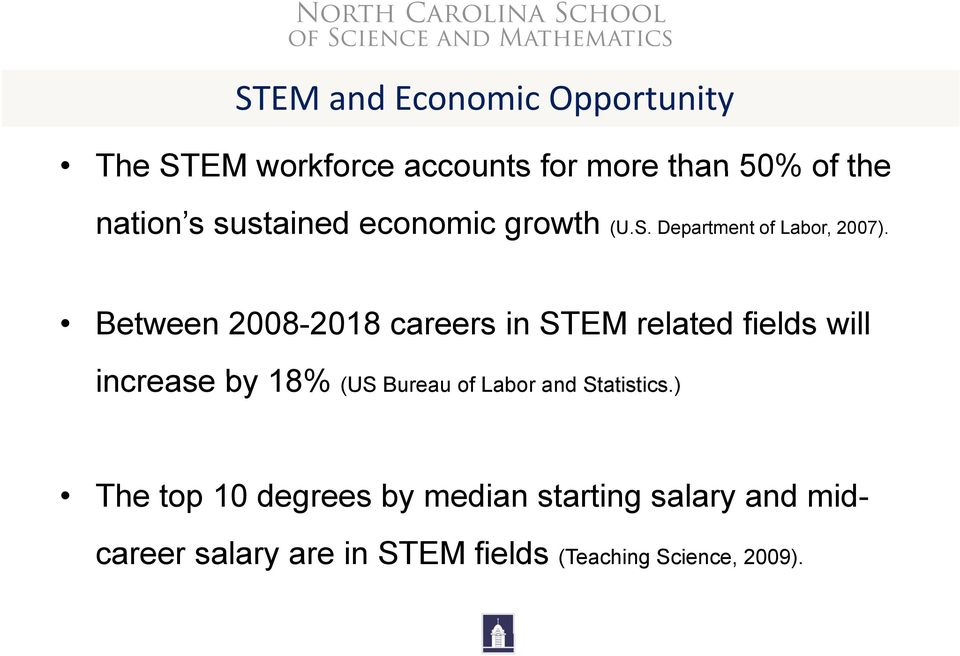 Between 2008-2018 careers in STEM related fields will increase by 18% (US Bureau of Labor