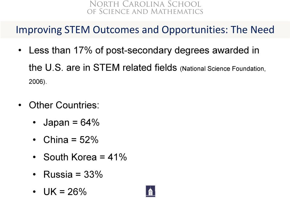 are in STEM related fields (National Science Foundation, 2006).