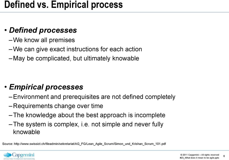 complicated, but ultimately knowable Empirical processes Environment and prerequisites are not defined completely
