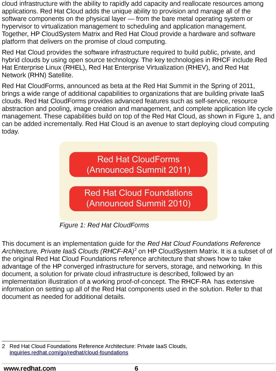 scheduling and application management. Together, HP CloudSystem Matrix and Red Hat Cloud provide a hardware and software platform that delivers on the promise of cloud computing.