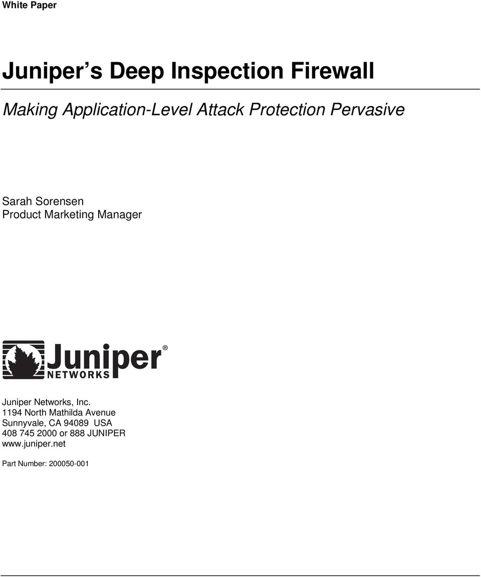 Marketing Manager Juniper Networks, Inc.