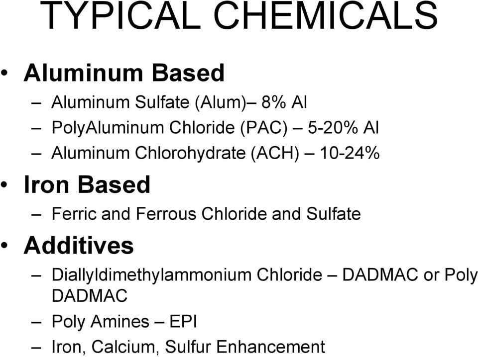Ferric and Ferrous Chloride and Sulfate Additives Diallyldimethylammonium