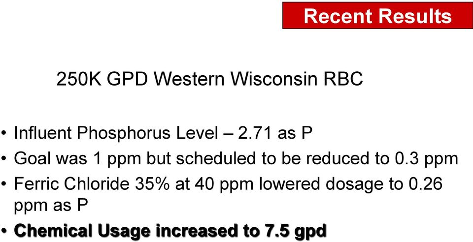 71 as P Goal was 1 ppm but scheduled to be reduced to 0.