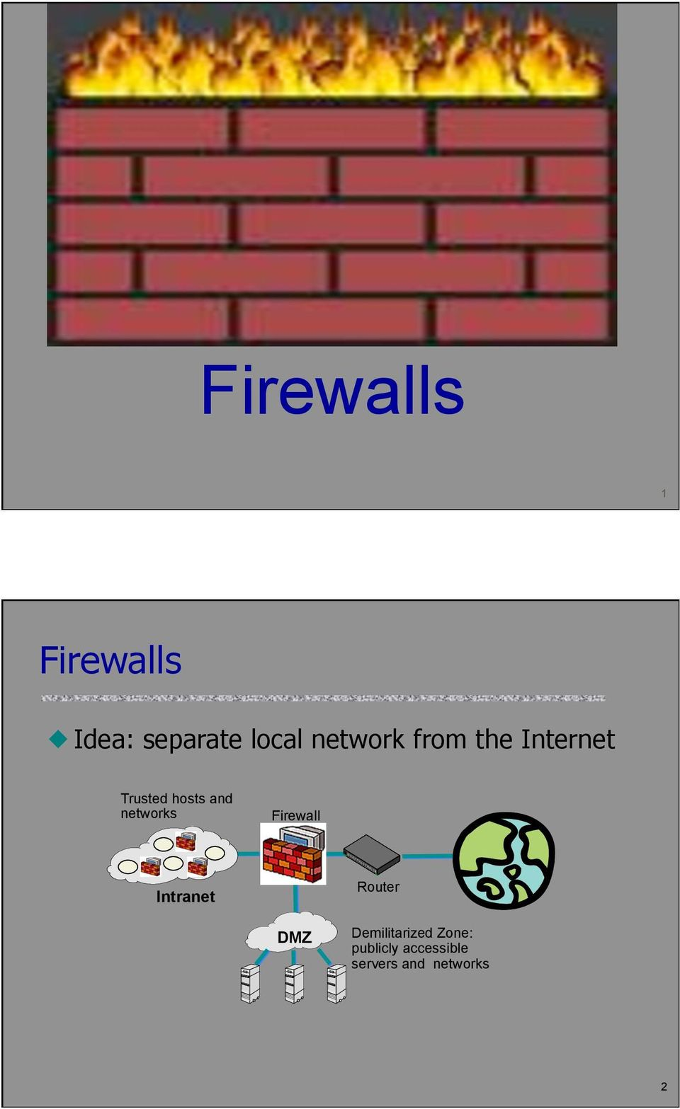 networks Firewall Intranet Router DMZ