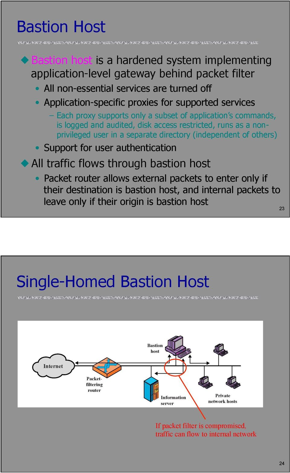directory (independent of others) Support for user authentication All traffic flows through bastion host Packet router allows external packets to enter only if their destination