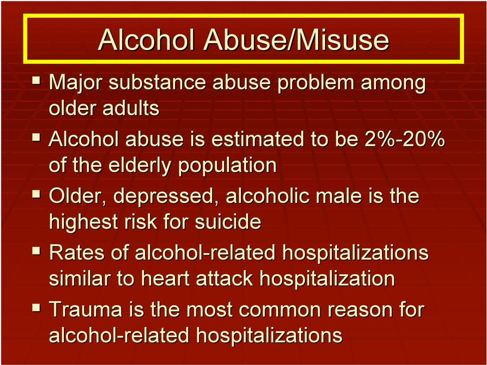 the highest risk for suicide Rates of alcohol-related hospitalizations similar to heart