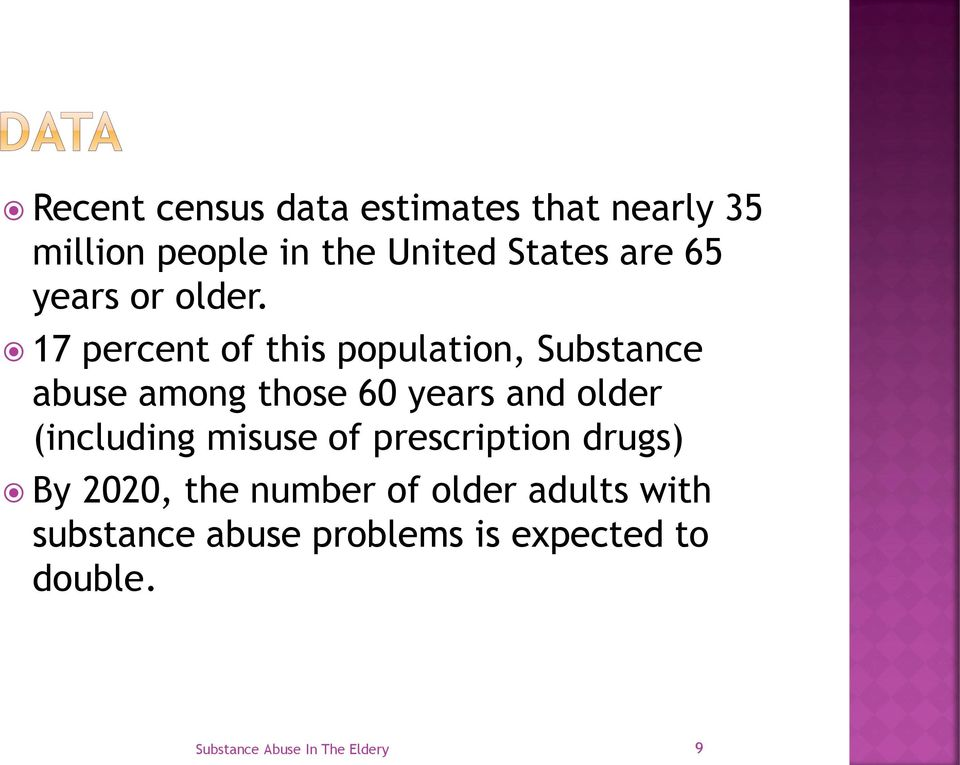 17 percent of this population, Substance abuse among those 60 years and older