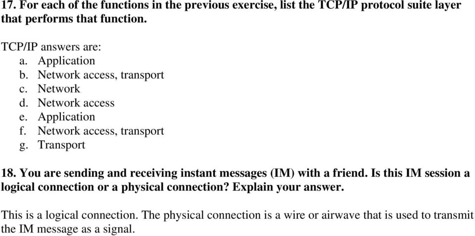 Transport 18. You are sending and receiving instant messages (IM) with a friend.