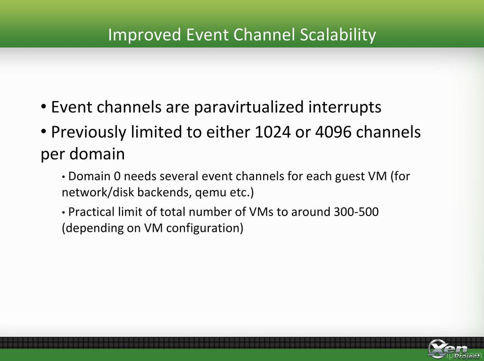 several event channels for each guest VM (for network/disk backends, qemu etc.