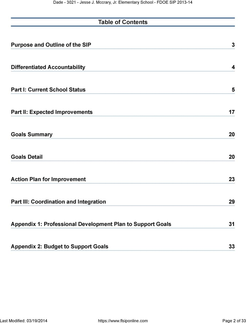 23 Part III: Coordination and Integration 29 Appendix 1: Professional Development Plan to Support Goals