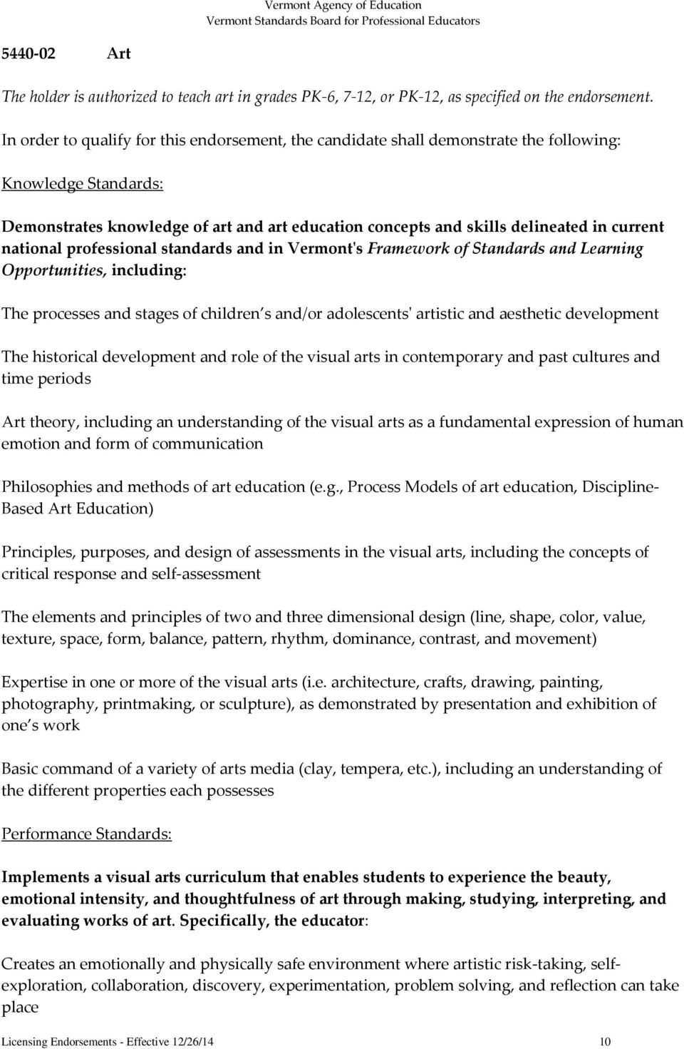 national professional standards and in Vermont's Framework of Standards and Learning Opportunities, including: The processes and stages of children s and/or adolescents' artistic and aesthetic