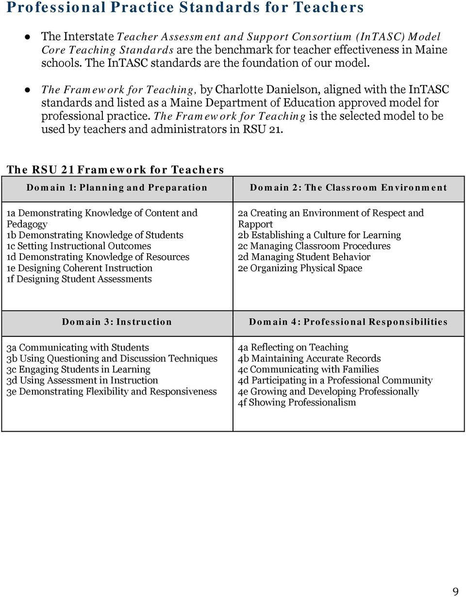 The Framework for Teaching, by Charlotte Danielson, aligned with the InTASC standards and listed as a Maine Department of Education approved model for professional practice.