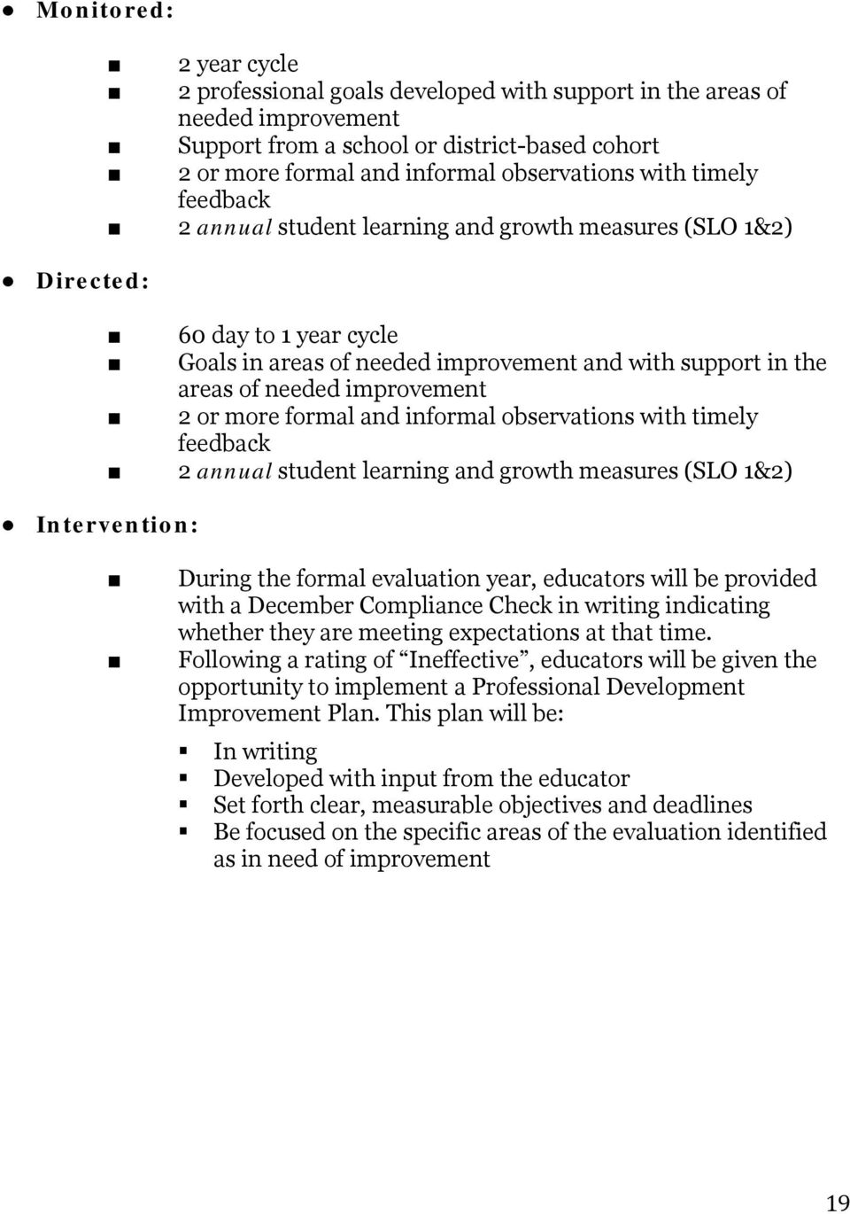 more formal and informal observations with timely feedback 2 annual student learning and growth measures (SLO 1&2) Intervention: During the formal evaluation year, educators will be provided with a
