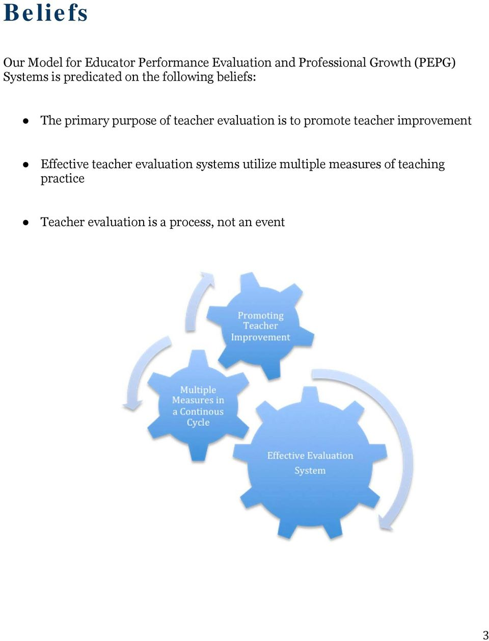 evaluation is to promote teacher improvement Effective teacher evaluation systems