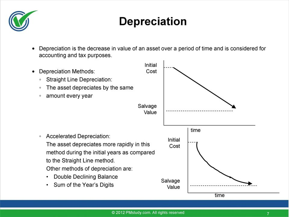 Depreciation Methods: Straight Line Depreciation: The asset depreciates by the same amount every year Initial Cost Salvage Value