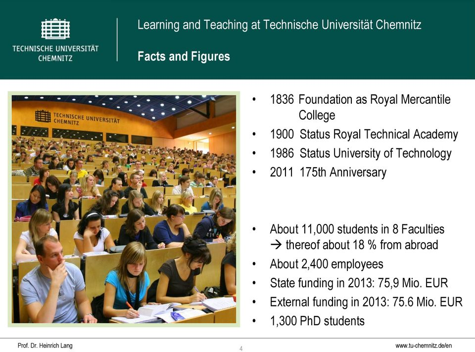 11,000 students in 8 Faculties thereof about 18 % from abroad About 2,400 employees