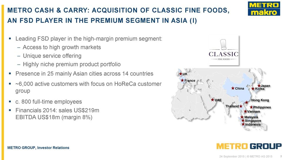 across 14 countries UK ~6,000 active customers with focus on HoReCa customer group France China Japan Korea c.