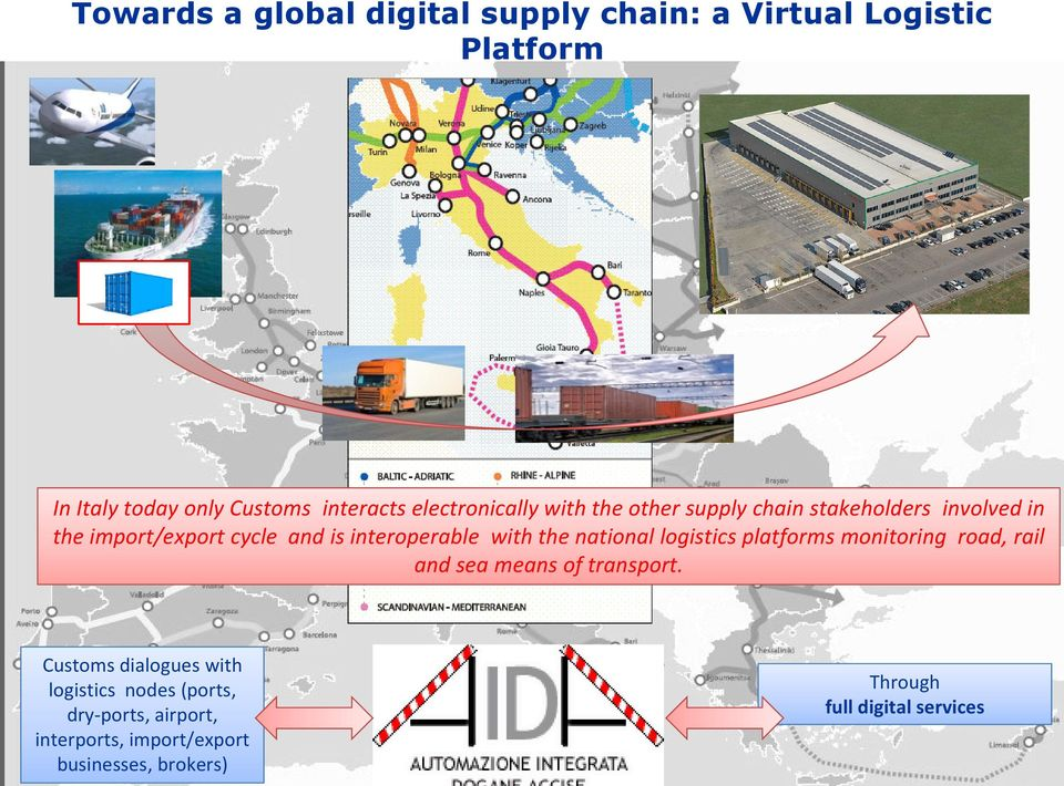 the national logistics platforms monitoring road, rail and sea means of transport.