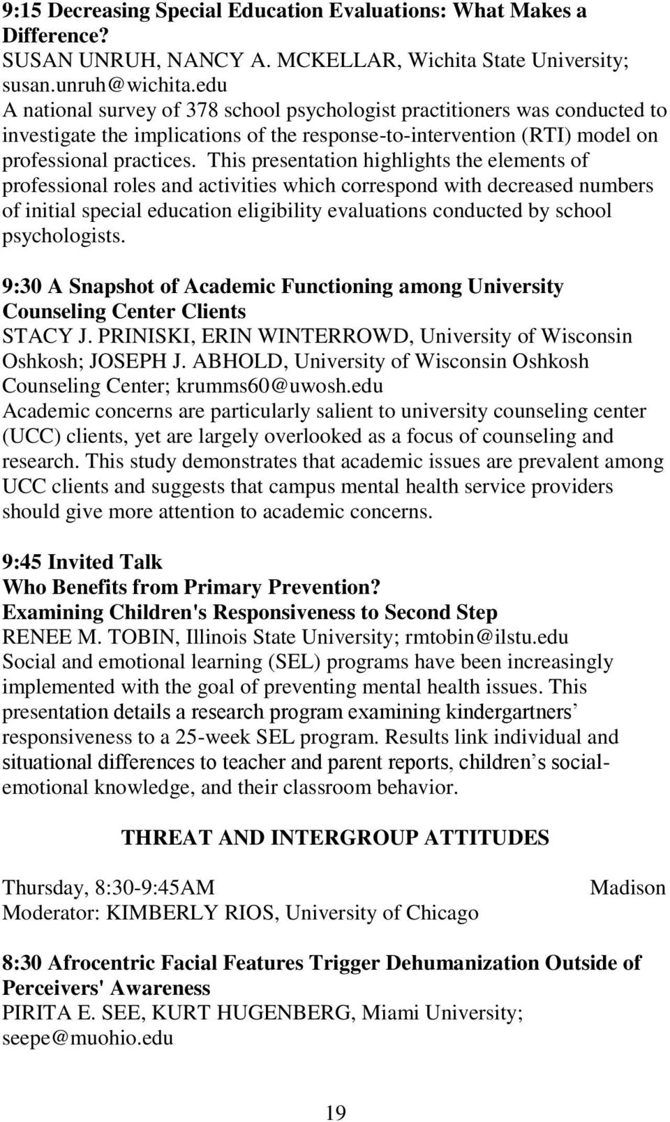 PROGRAM EIGHTY-FIFTH ANNUAL MEETING MIDWESTERN PSYCHOLOGICAL ...