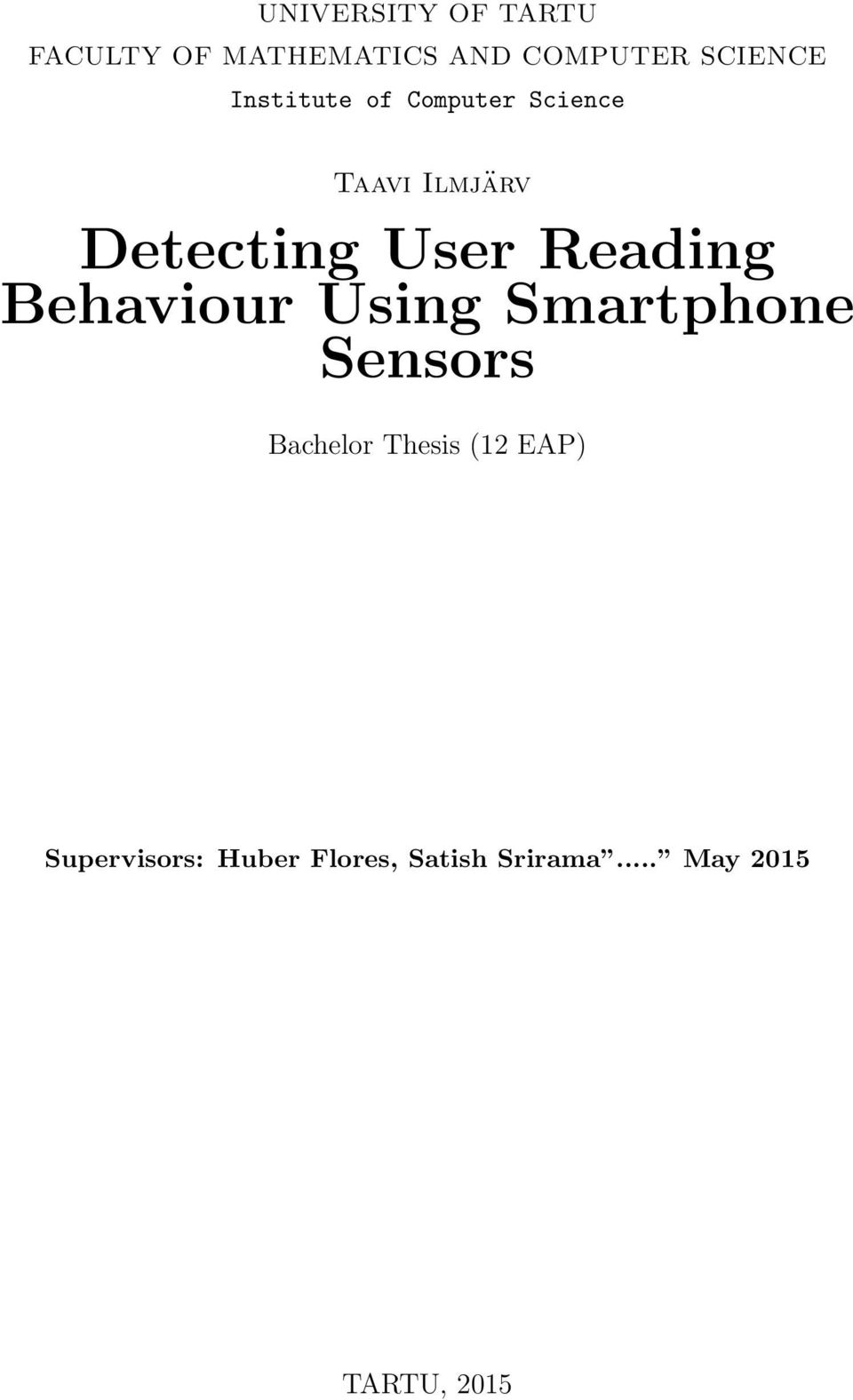 Reading Behaviour Using Smartphone Sensors Bachelor Thesis (12