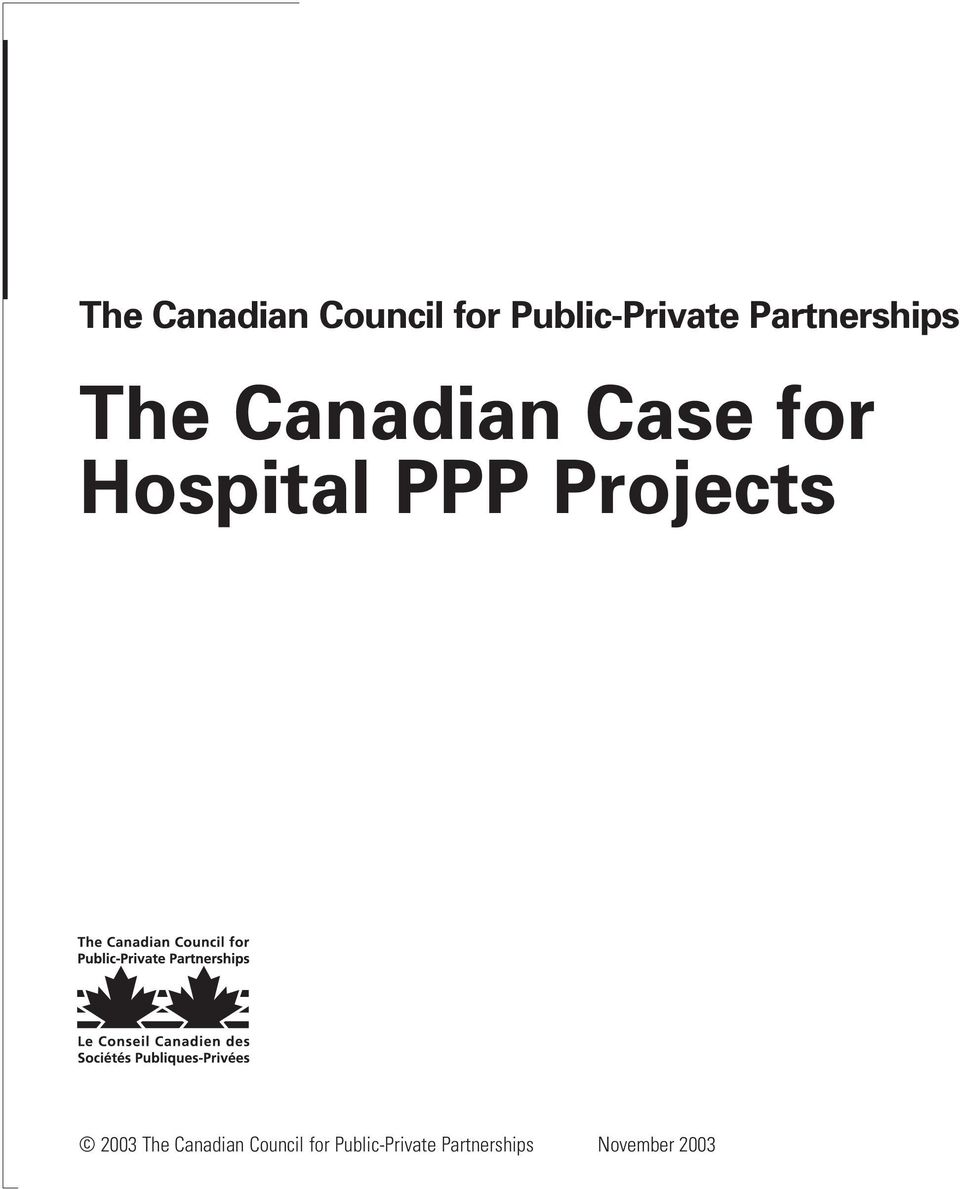 Hospital PPP Projects 2003  Partnerships