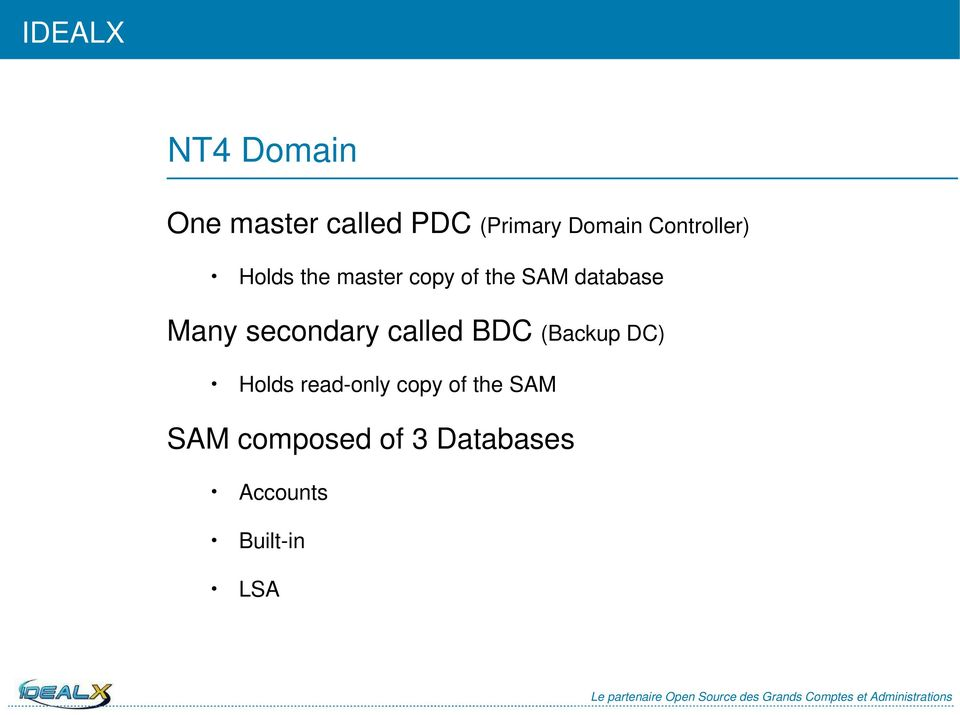 Many secondary called BDC (Backup DC) Holds read-only