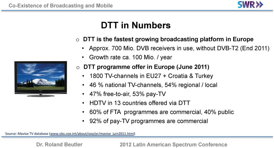 / year o DTT programme offer in Europe (June 2011) 1800 TV-channels in EU27 + Croatia & Turkey 46 % national TV-channels, 54% regional