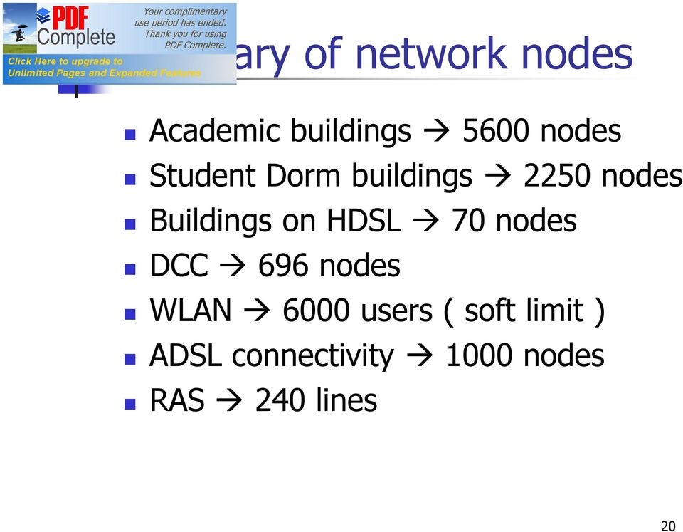 on HDSL 70 nodes DCC 696 nodes WLAN 6000 users (